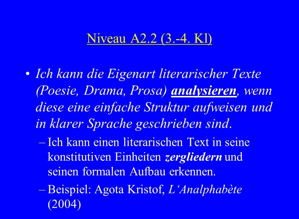 Niveau A2.2 (3.-4. Kl) Ich kann die Eigenart literarischer Texte (Poesie, Drama, Prosa) analysieren, wenn diese eine einfache Struktur aufweisen und i