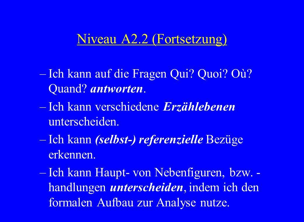 Niveau A2.2 (Fortsetzung) –Ich kann auf die Fragen Qui? Quoi? Où? Quand? antworten. –Ich kann verschiedene Erzählebenen unterscheiden. –Ich kann (selb