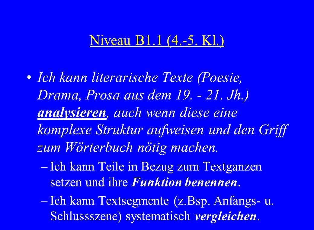 Niveau B1.1 (4.-5. Kl.) Ich kann literarische Texte (Poesie, Drama, Prosa aus dem 19. - 21. Jh.) analysieren, auch wenn diese eine komplexe Struktur a