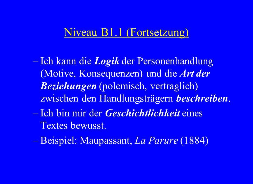 Niveau B1.1 (Fortsetzung) –Ich kann die Logik der Personenhandlung (Motive, Konsequenzen) und die Art der Beziehungen (polemisch, vertraglich) zwischen den Handlungsträgern beschreiben.