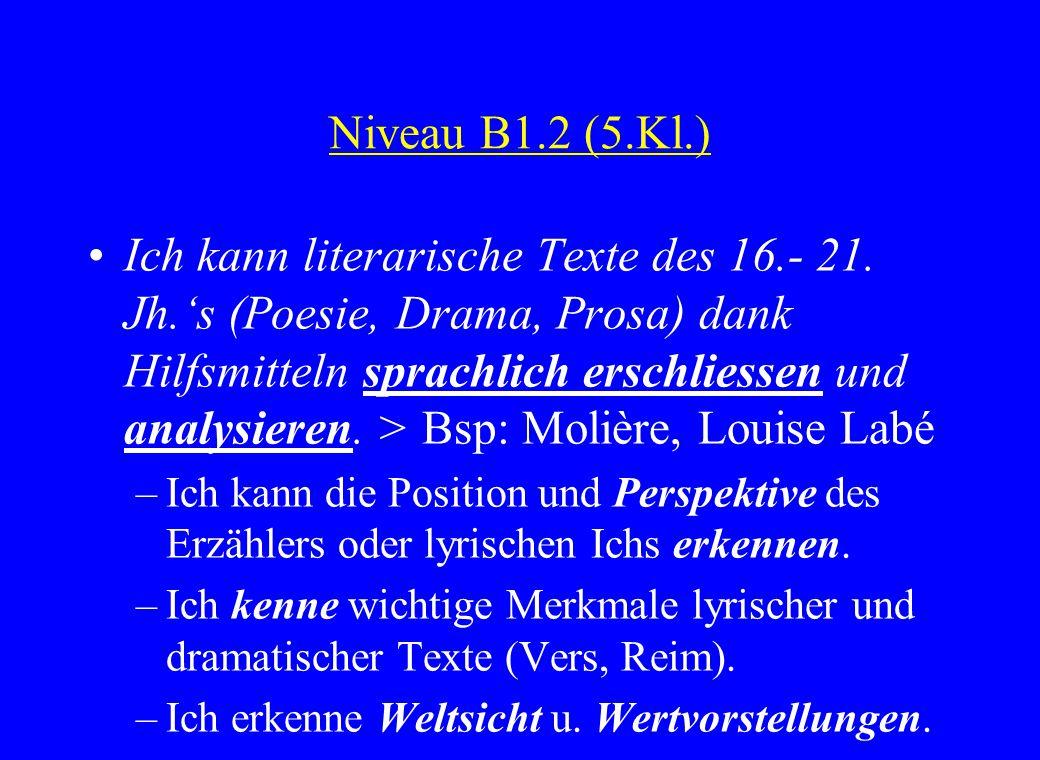 Niveau B1.2 (5.Kl.) Ich kann literarische Texte des 16.- 21. Jh.s (Poesie, Drama, Prosa) dank Hilfsmitteln sprachlich erschliessen und analysieren. >