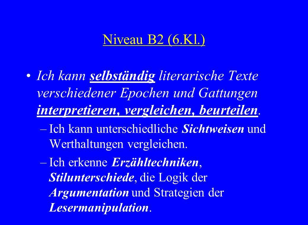 Niveau B2 (6.Kl.) Ich kann selbständig literarische Texte verschiedener Epochen und Gattungen interpretieren, vergleichen, beurteilen. –Ich kann unter