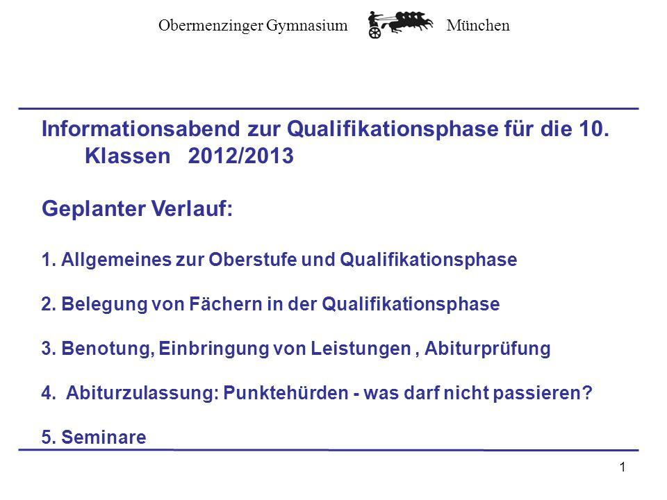 Obermenzinger GymnasiumMünchen Informationsabend zur Qualifikationsphase für die 10.
