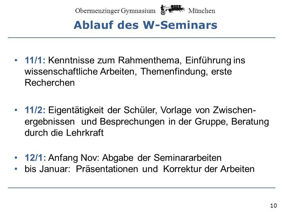 München Obermenzinger Gymnasium 11 Leistungserhebungen in 11/1 und 11/2 Möglich sind unter anderem: -Stegreifaufgaben in der Inputphase -Schriftliche Quellenanalysen -Exzerpte zu wissenschaftlichen Aufsätzen -Glossare -Gliederungsentwürfe -Protokolle -Referate -Erste Präsentationen -Exposés (Zwischenberichte): z.B.