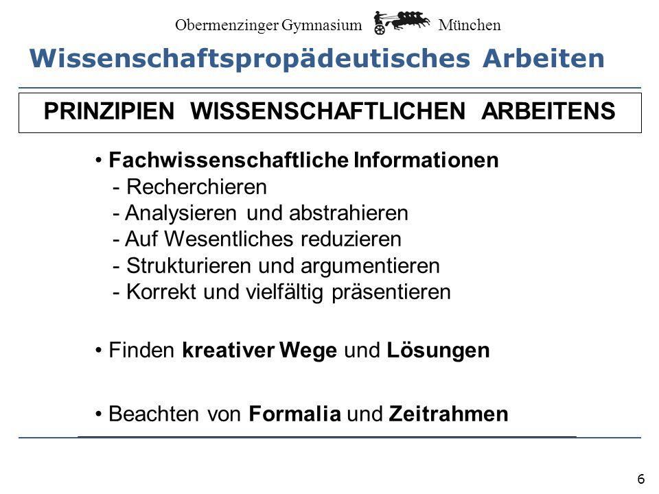 München Obermenzinger Gymnasium Freiheit von …...zentralen Vorgaben (Lehrplan, Abiturprüfung)...