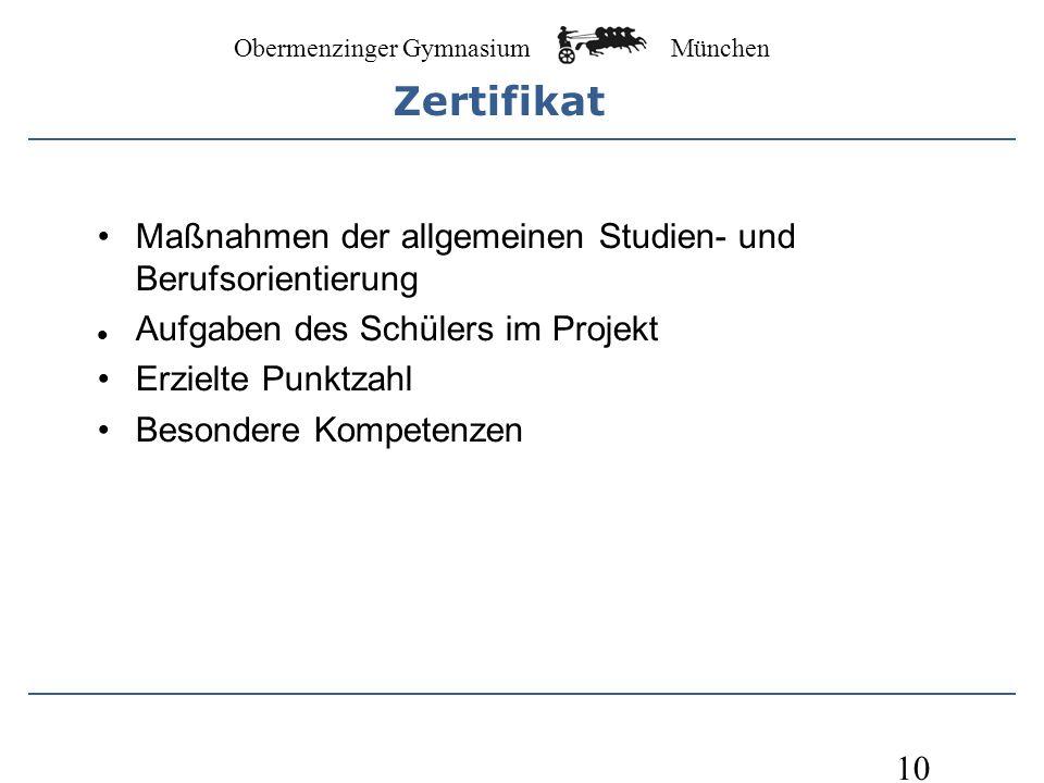 Obermenzinger Gymnasium München 10 Maßnahmen der allgemeinen Studien- und Berufsorientierung Aufgaben des Schülers im Projekt Erzielte Punktzahl Besondere Kompetenzen Zertifikat