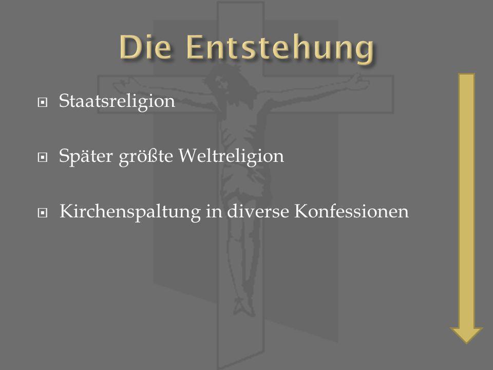 Staatsreligion Später größte Weltreligion Kirchenspaltung in diverse Konfessionen