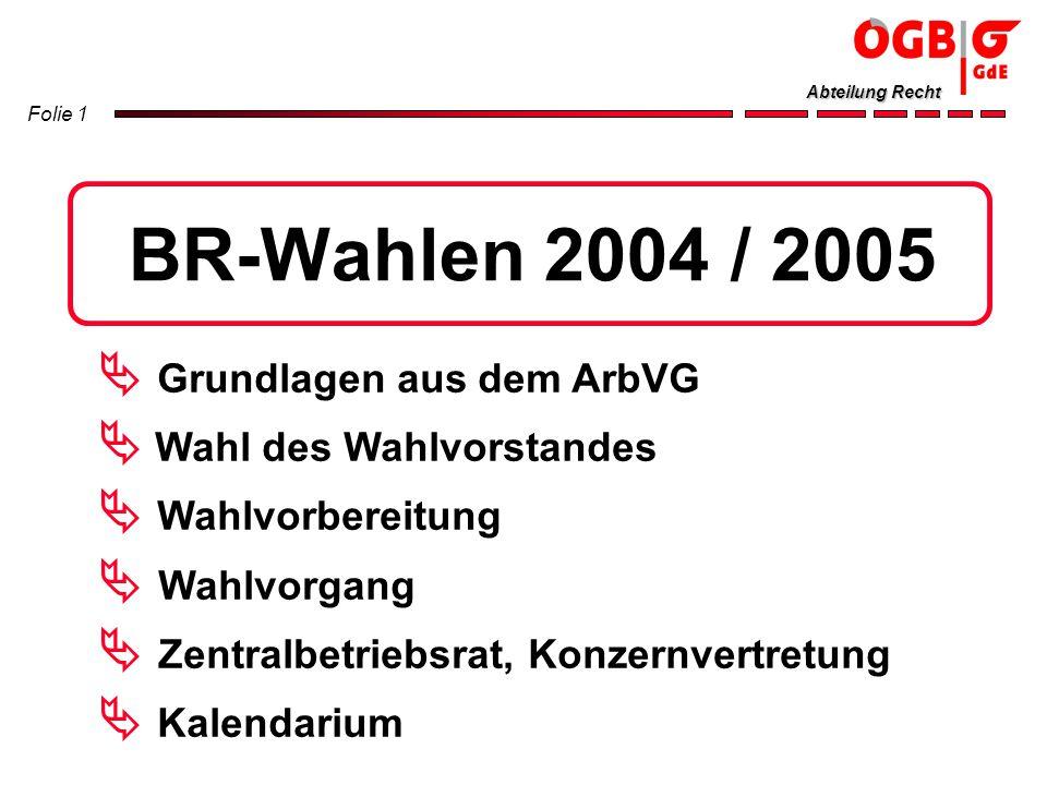 Folie 1 Abteilung Recht BR-Wahlen 2004 / 2005 Grundlagen aus dem ArbVG Wahl des Wahlvorstandes Wahlvorbereitung Wahlvorgang Zentralbetriebsrat, Konzer