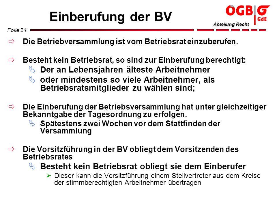 Folie 24 Abteilung Recht Einberufung der BV Die Betriebversammlung ist vom Betriebsrat einzuberufen. Besteht kein Betriebsrat, so sind zur Einberufung