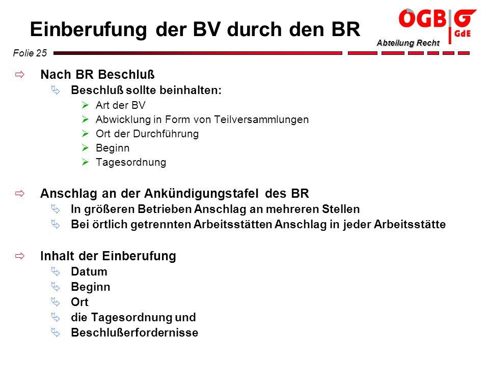Folie 25 Abteilung Recht Einberufung der BV durch den BR Nach BR Beschluß Beschluß sollte beinhalten: Art der BV Abwicklung in Form von Teilversammlun