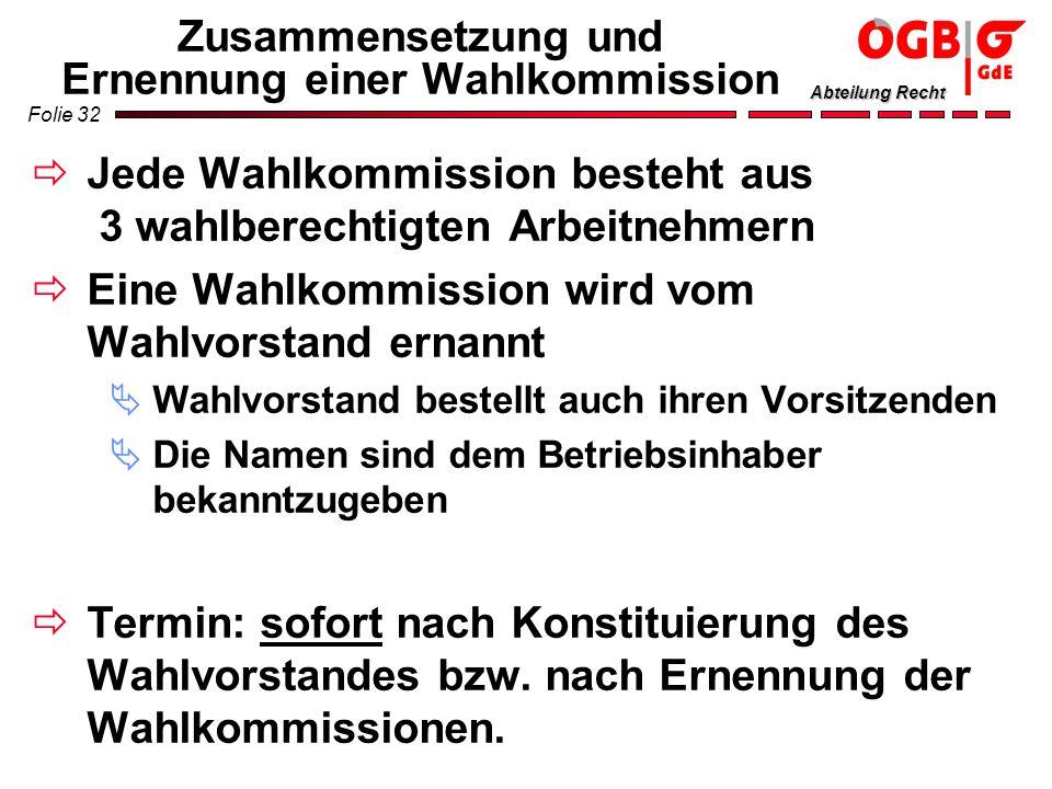 Folie 32 Abteilung Recht Zusammensetzung und Ernennung einer Wahlkommission Jede Wahlkommission besteht aus 3 wahlberechtigten Arbeitnehmern Eine Wahl