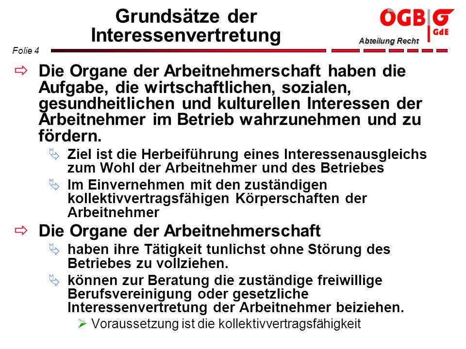 Folie 15 Abteilung Recht Passives Wahlrecht Wählbar sind alle Arbeitnehmer, die österreichische Staatsbürger sind oder Angehörige von EWR-Staaten sind am Tag der Ausschreibung der Wahl (gleichbedeutend mit dem Tag der Wahlkundmachung) das 19.