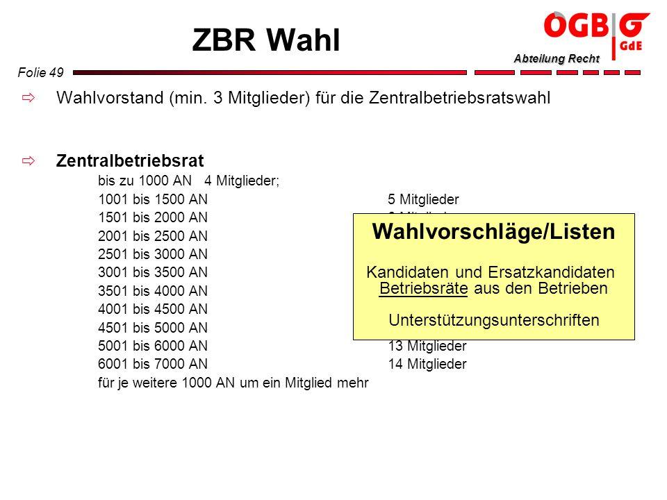 Folie 49 Abteilung Recht ZBR Wahl Wahlvorstand (min. 3 Mitglieder) für die Zentralbetriebsratswahl Zentralbetriebsrat bis zu 1000 AN 4 Mitglieder; 100