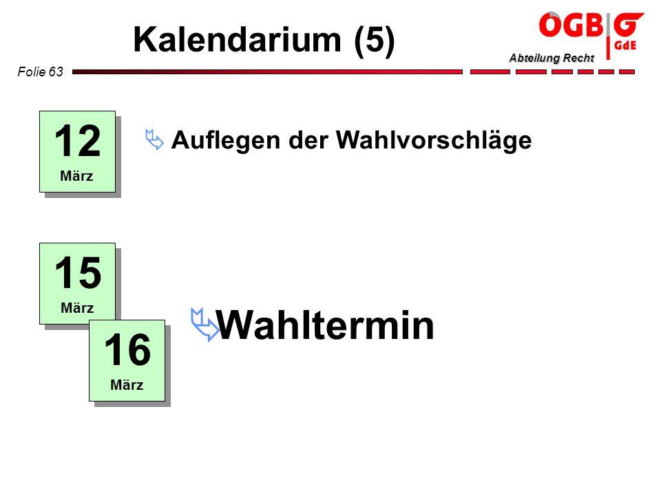 Folie 63 Abteilung Recht Kalendarium (5) 12 März 15 März Auflegen der Wahlvorschläge Wahltermin 16 März