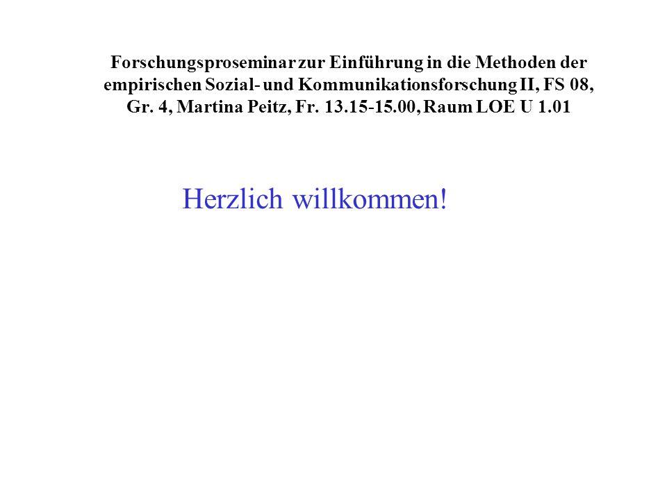 Forschungsproseminar zur Einführung in die Methoden der empirischen Sozial- und Kommunikationsforschung II, FS 08, Gr. 4, Martina Peitz, Fr. 13.15-15.