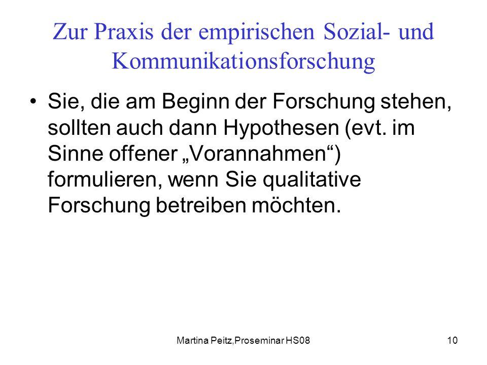 Martina Peitz,Proseminar HS0810 Zur Praxis der empirischen Sozial- und Kommunikationsforschung Sie, die am Beginn der Forschung stehen, sollten auch dann Hypothesen (evt.