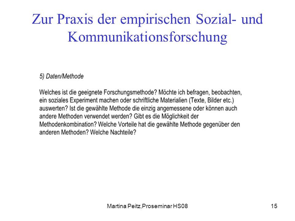 Martina Peitz,Proseminar HS0815 Zur Praxis der empirischen Sozial- und Kommunikationsforschung