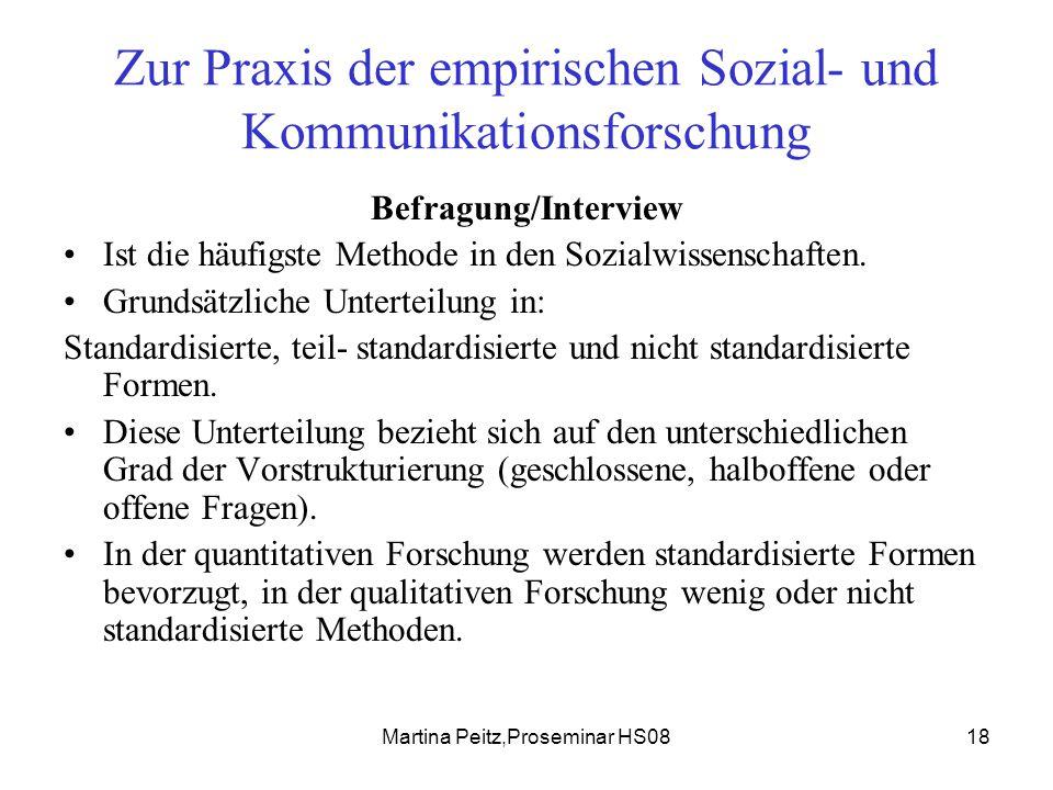 Martina Peitz,Proseminar HS0818 Zur Praxis der empirischen Sozial- und Kommunikationsforschung Befragung/Interview Ist die häufigste Methode in den Sozialwissenschaften.