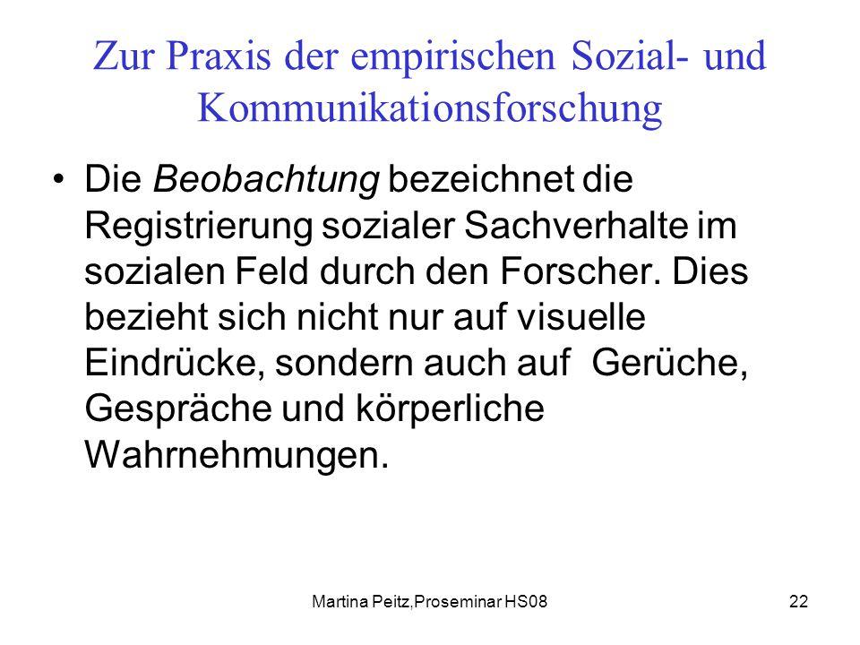 Martina Peitz,Proseminar HS0822 Zur Praxis der empirischen Sozial- und Kommunikationsforschung Die Beobachtung bezeichnet die Registrierung sozialer Sachverhalte im sozialen Feld durch den Forscher.