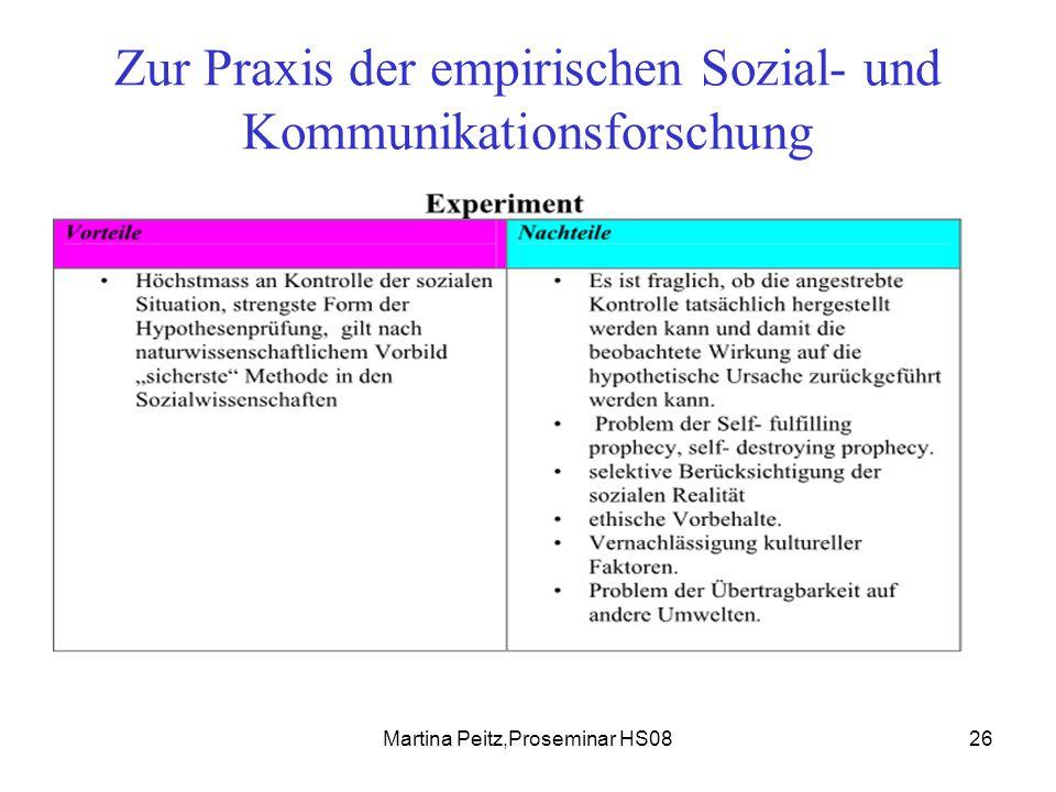 Martina Peitz,Proseminar HS0826 Zur Praxis der empirischen Sozial- und Kommunikationsforschung