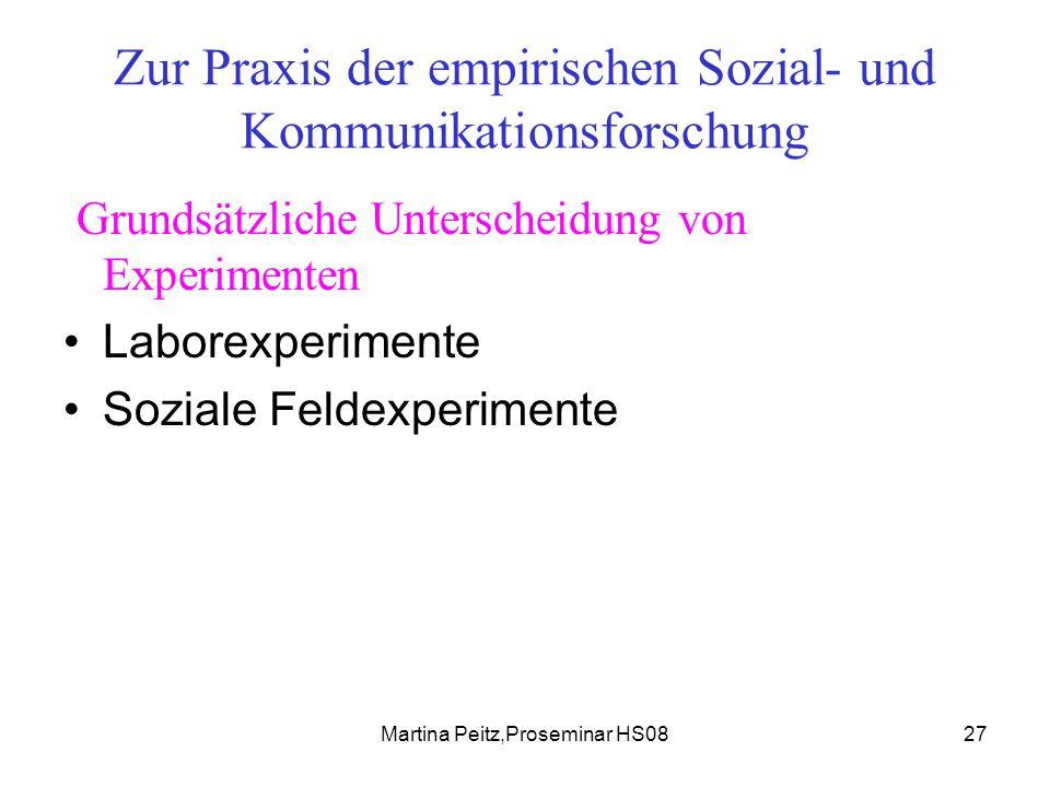 Martina Peitz,Proseminar HS0827 Zur Praxis der empirischen Sozial- und Kommunikationsforschung Grundsätzliche Unterscheidung von Experimenten Laborexperimente Soziale Feldexperimente
