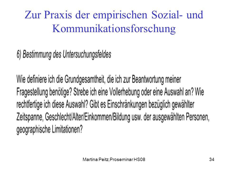 Martina Peitz,Proseminar HS0834 Zur Praxis der empirischen Sozial- und Kommunikationsforschung
