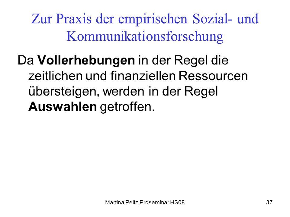 Martina Peitz,Proseminar HS0837 Zur Praxis der empirischen Sozial- und Kommunikationsforschung Da Vollerhebungen in der Regel die zeitlichen und finanziellen Ressourcen übersteigen, werden in der Regel Auswahlen getroffen.