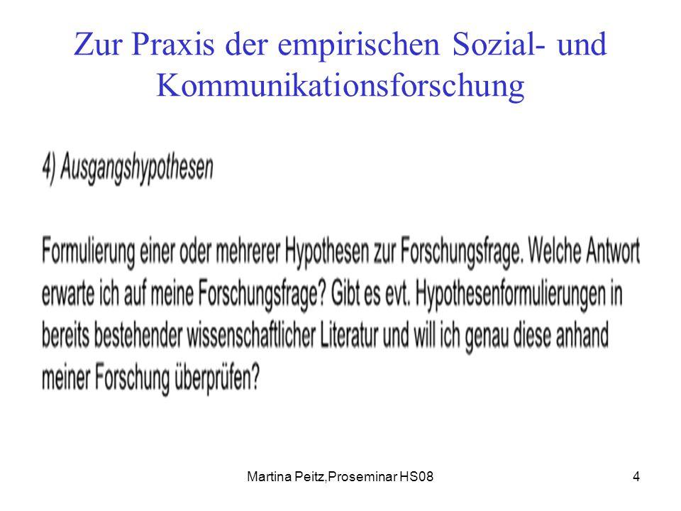 Martina Peitz,Proseminar HS085 Zur Praxis der empirischen Sozial- und Kommunikationsforschung