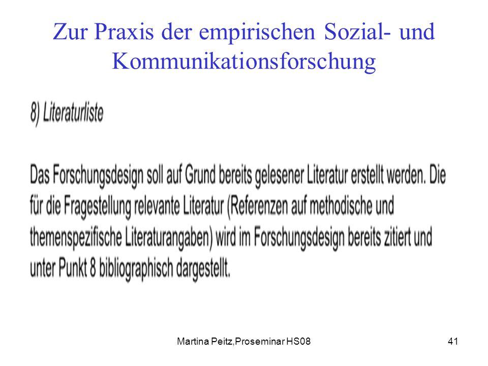 Martina Peitz,Proseminar HS0841 Zur Praxis der empirischen Sozial- und Kommunikationsforschung