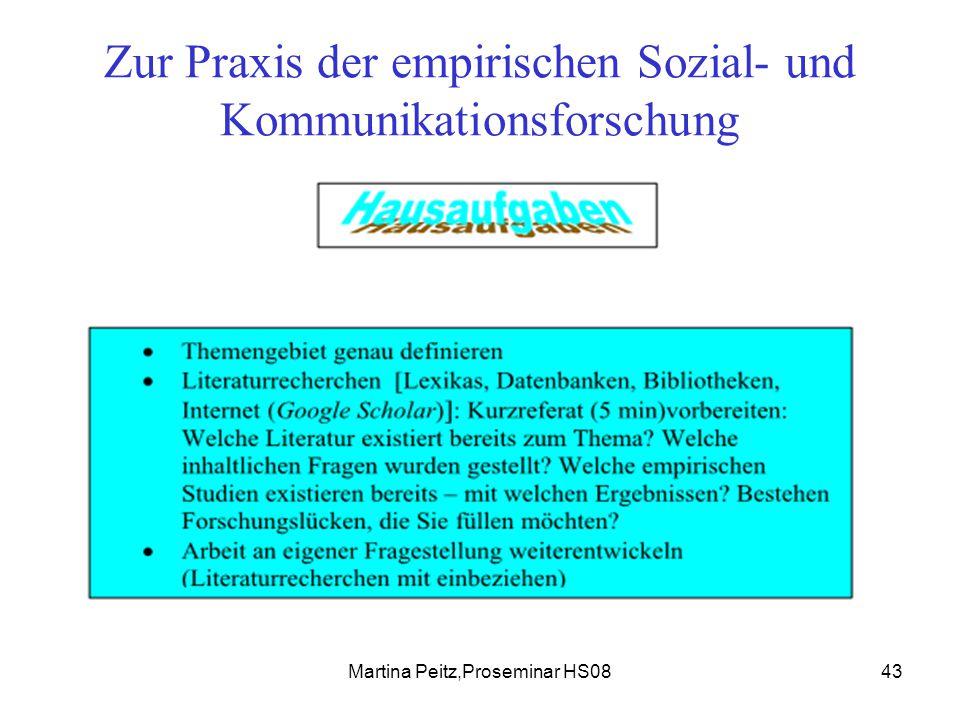 Martina Peitz,Proseminar HS0843 Zur Praxis der empirischen Sozial- und Kommunikationsforschung