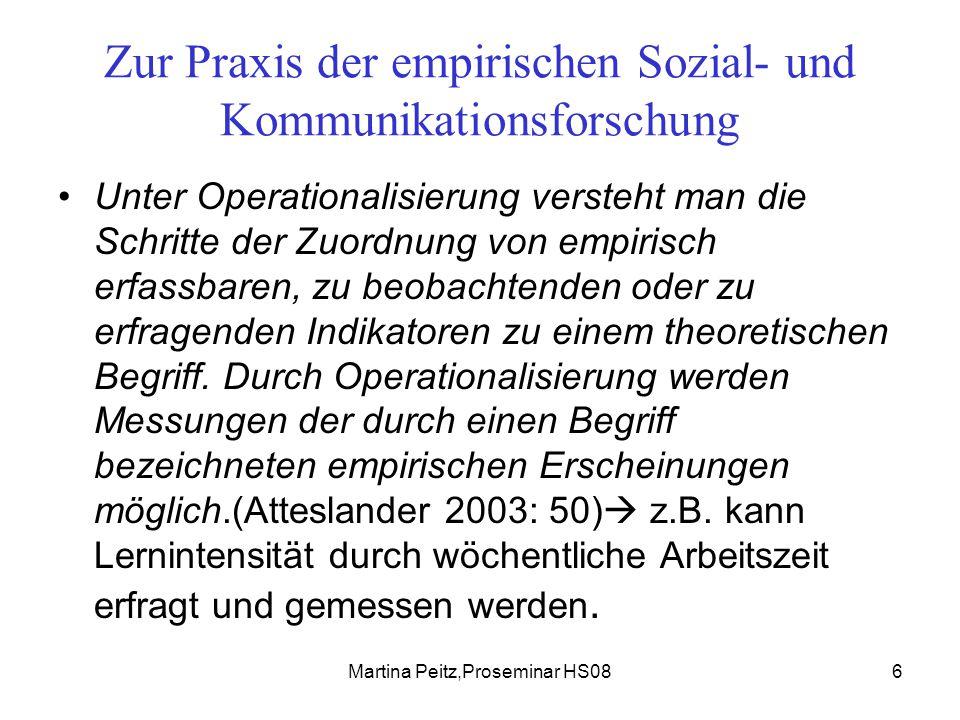 Martina Peitz,Proseminar HS086 Zur Praxis der empirischen Sozial- und Kommunikationsforschung Unter Operationalisierung versteht man die Schritte der Zuordnung von empirisch erfassbaren, zu beobachtenden oder zu erfragenden Indikatoren zu einem theoretischen Begriff.