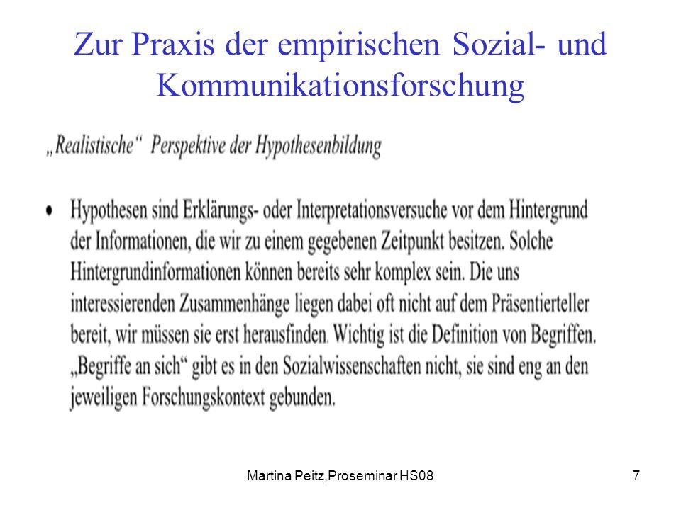Martina Peitz,Proseminar HS088 Zur Praxis der empirischen Sozial- und Kommunikationsforschung Qualitative Sozialforschung Offenheit als Prinzip teilweise Ablehnung von ex ante Hypothesen.