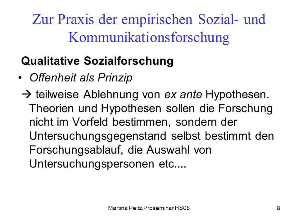 Martina Peitz,Proseminar HS0839 Zur Praxis der empirischen Sozial- und Kommunikationsforschung Als Fazit bleibt festzuhalten, dass Sie Ihr Untersuchungsfeld raum- zeit- und personenmässig klar umreissen sollten.