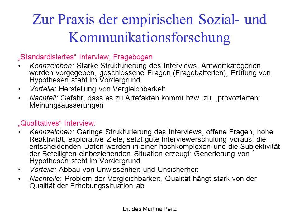 Dr. des Martina Peitz Zur Praxis der empirischen Sozial- und Kommunikationsforschung Standardisiertes Interview, Fragebogen Kennzeichen: Starke Strukt