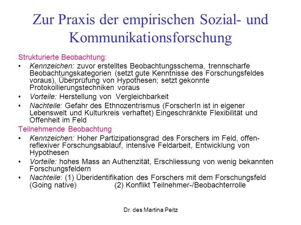 Dr. des Martina Peitz Zur Praxis der empirischen Sozial- und Kommunikationsforschung Strukturierte Beobachtung: Kennzeichen: zuvor erstelltes Beobacht