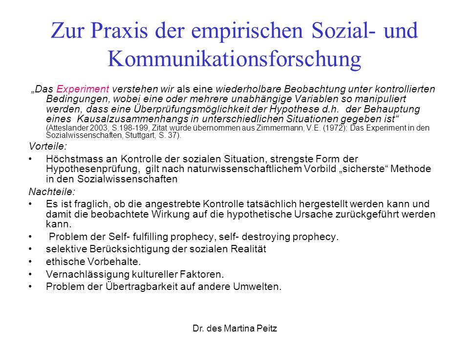 Dr. des Martina Peitz Zur Praxis der empirischen Sozial- und Kommunikationsforschung Das Experiment verstehen wir als eine wiederholbare Beobachtung u