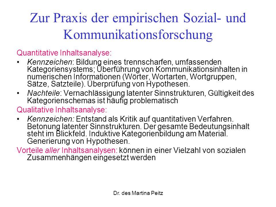 Dr. des Martina Peitz Zur Praxis der empirischen Sozial- und Kommunikationsforschung Quantitative Inhaltsanalyse: Kennzeichen: Bildung eines trennscha