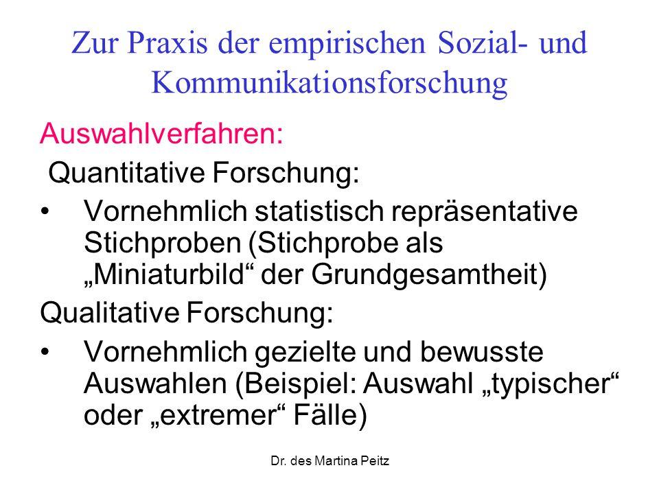 Dr. des Martina Peitz Zur Praxis der empirischen Sozial- und Kommunikationsforschung Auswahlverfahren: Quantitative Forschung: Vornehmlich statistisch