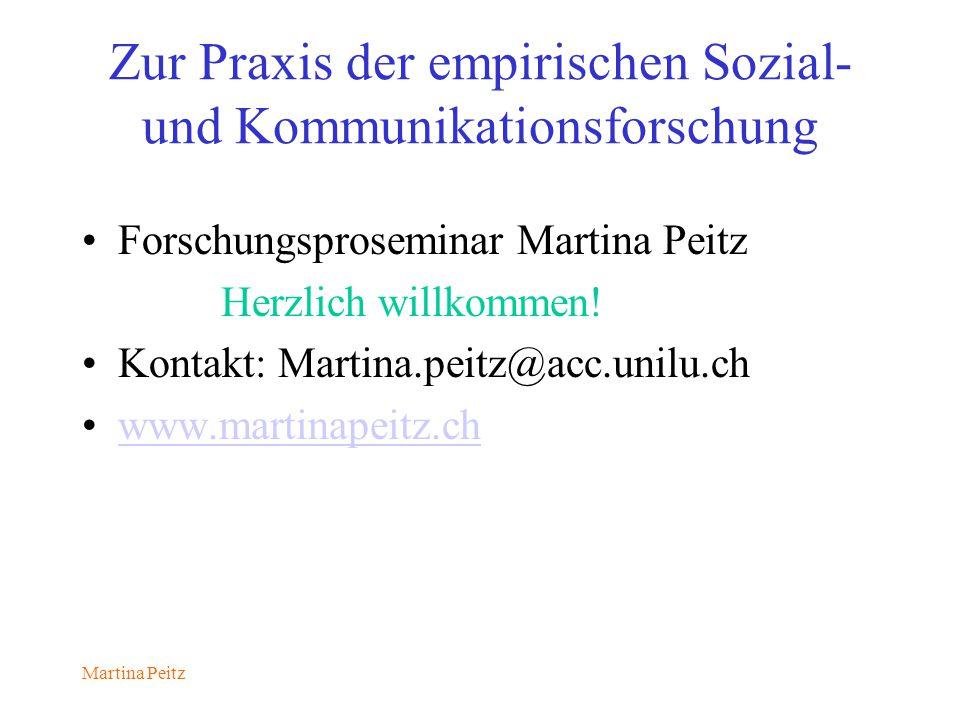 Martina Peitz Zur Praxis der empirischen Sozial- und Kommunikationsforschung Forschungsproseminar Martina Peitz Herzlich willkommen.