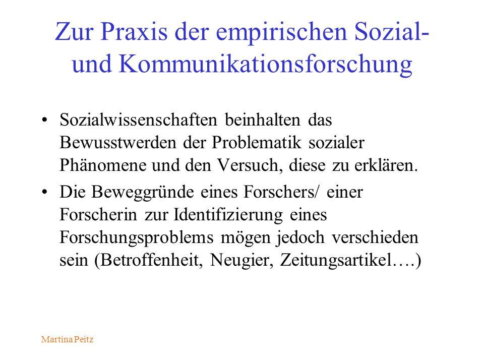 Martina Peitz Zur Praxis der empirischen Sozial- und Kommunikationsforschung Sozialwissenschaften beinhalten das Bewusstwerden der Problematik sozialer Phänomene und den Versuch, diese zu erklären.