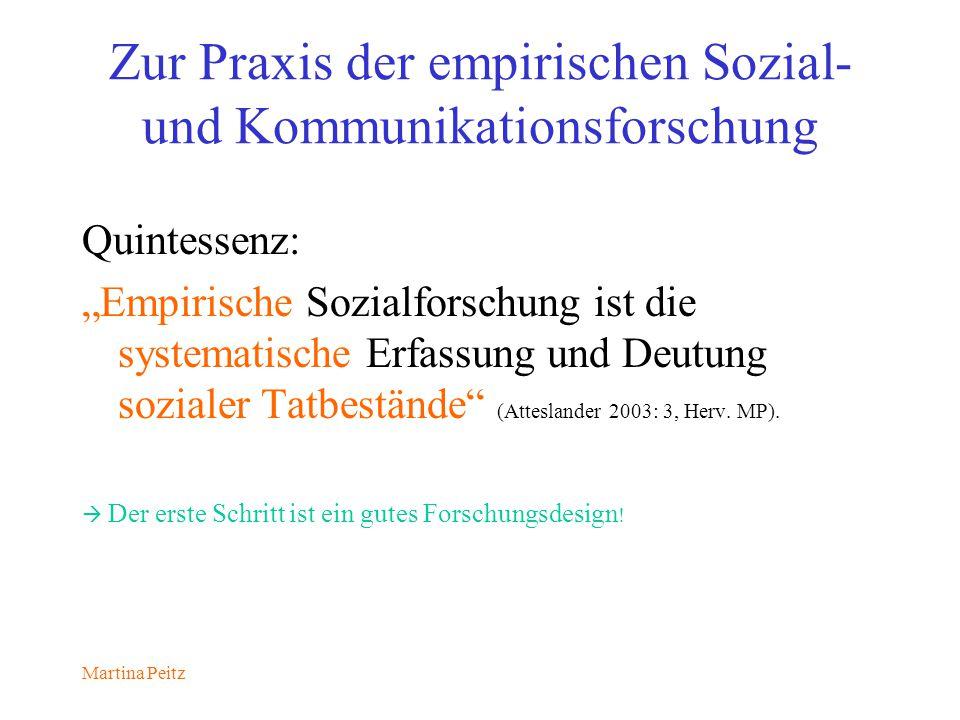 Martina Peitz Zur Praxis der empirischen Sozial- und Kommunikationsforschung Quintessenz: Empirische Sozialforschung ist die systematische Erfassung und Deutung sozialer Tatbestände (Atteslander 2003: 3, Herv.