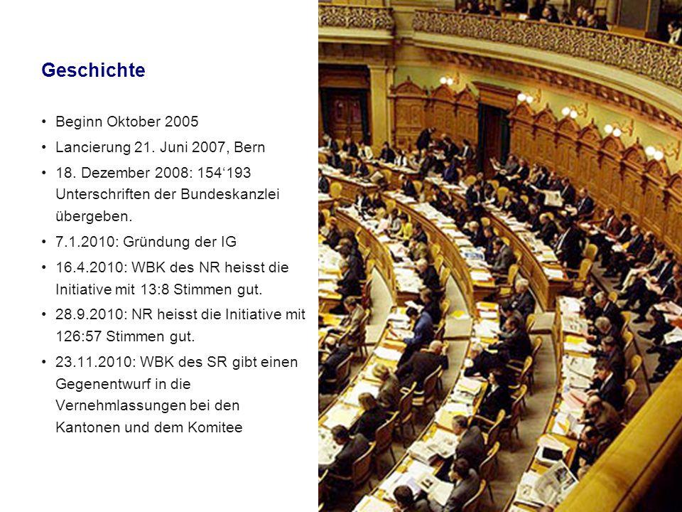 Geschichte Beginn Oktober 2005 Lancierung 21. Juni 2007, Bern 18.