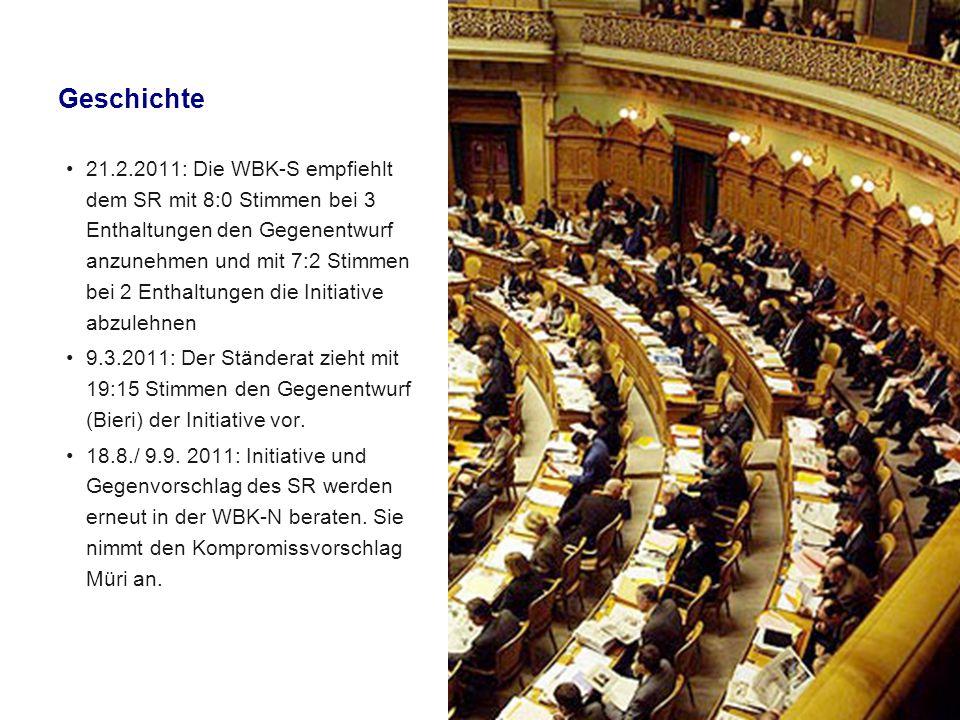 Geschichte 21.2.2011: Die WBK-S empfiehlt dem SR mit 8:0 Stimmen bei 3 Enthaltungen den Gegenentwurf anzunehmen und mit 7:2 Stimmen bei 2 Enthaltungen die Initiative abzulehnen 9.3.2011: Der Ständerat zieht mit 19:15 Stimmen den Gegenentwurf (Bieri) der Initiative vor.