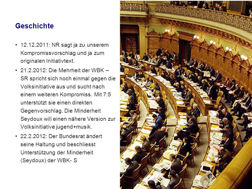 Geschichte 27.2.2012: Der Ständerat stimmt mit 26:14 dem direkten Gegenentwurf der Minderheit WBK (Seydoux) zu.