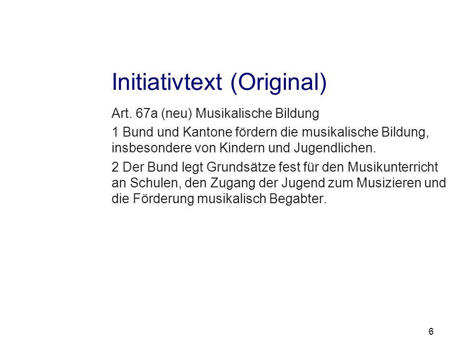 unterstützen verbinden vorausgehen Initiativtext (Original) Art.