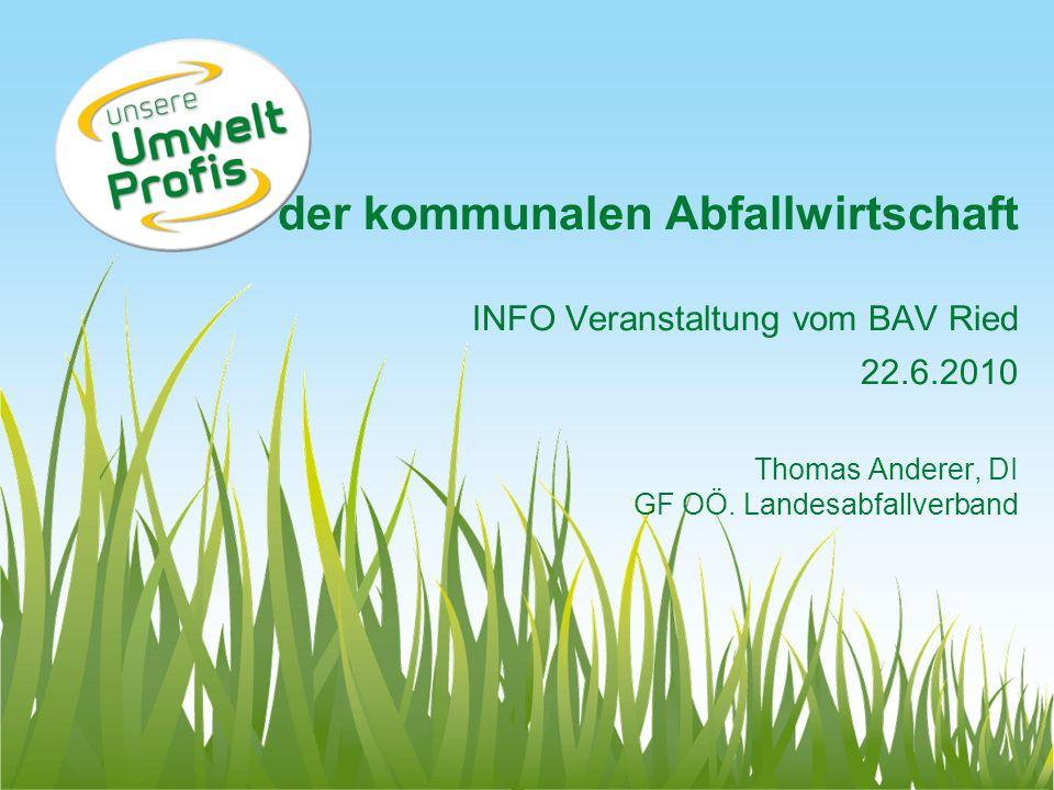 der kommunalen Abfallwirtschaft INFO Veranstaltung vom BAV Ried 22.6.2010 Thomas Anderer, DI GF OÖ. Landesabfallverband