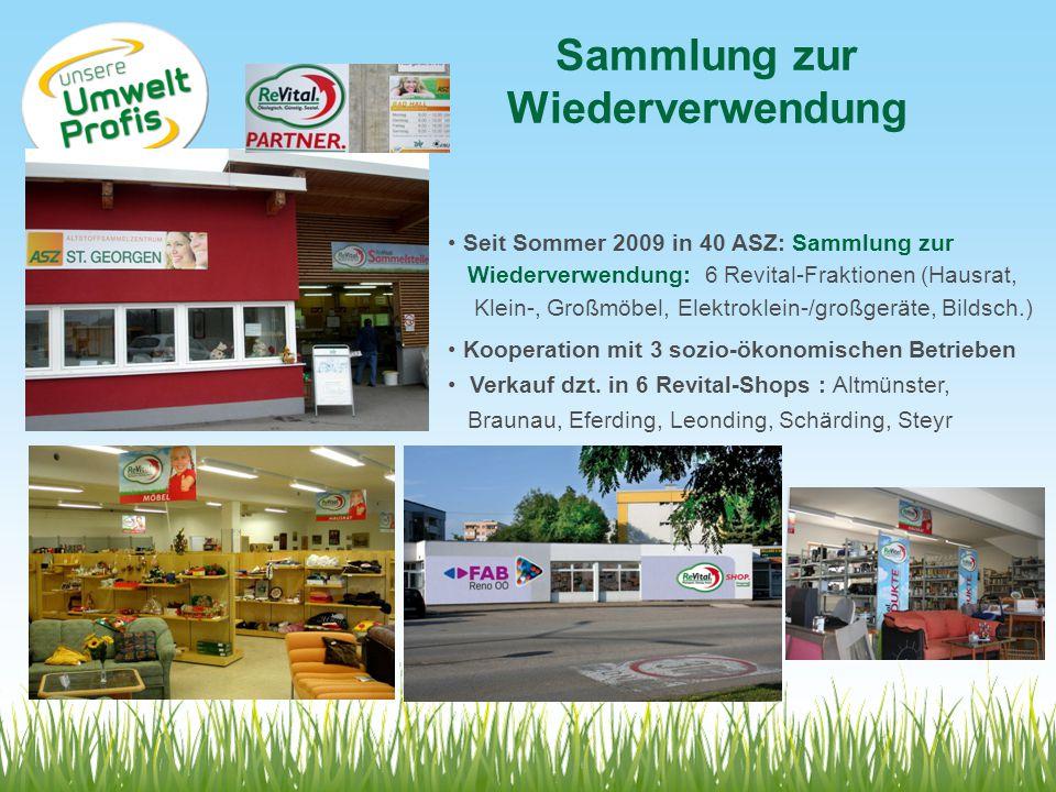 Sammlung zur Wiederverwendung Seit Sommer 2009 in 40 ASZ: Sammlung zur Wiederverwendung: 6 Revital-Fraktionen (Hausrat, Klein-, Großmöbel, Elektroklei