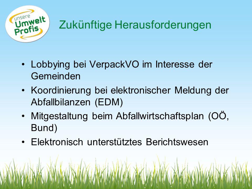 Zukünftige Herausforderungen Lobbying bei VerpackVO im Interesse der Gemeinden Koordinierung bei elektronischer Meldung der Abfallbilanzen (EDM) Mitgestaltung beim Abfallwirtschaftsplan (OÖ, Bund) Elektronisch unterstütztes Berichtswesen