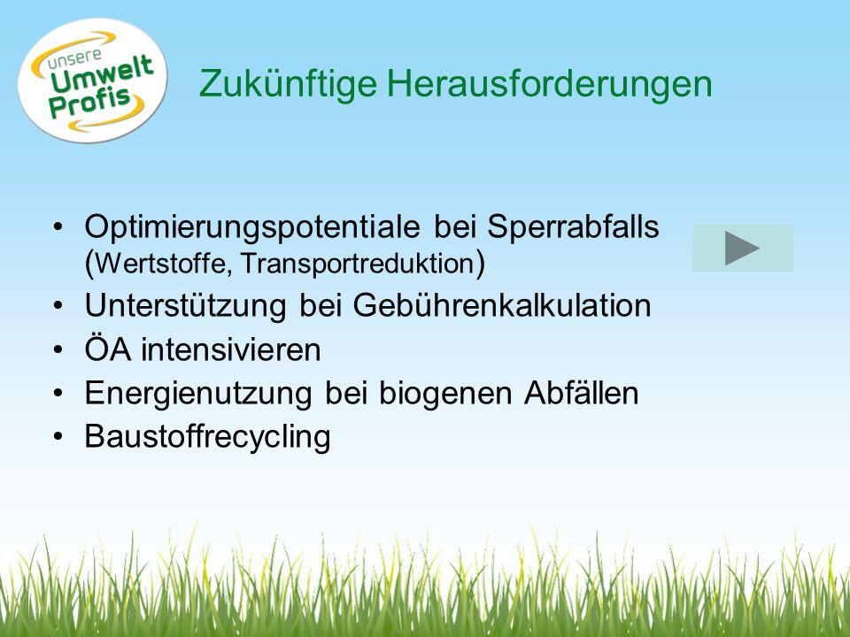 Zukünftige Herausforderungen Optimierungspotentiale bei Sperrabfalls ( Wertstoffe, Transportreduktion ) Unterstützung bei Gebührenkalkulation ÖA intensivieren Energienutzung bei biogenen Abfällen Baustoffrecycling