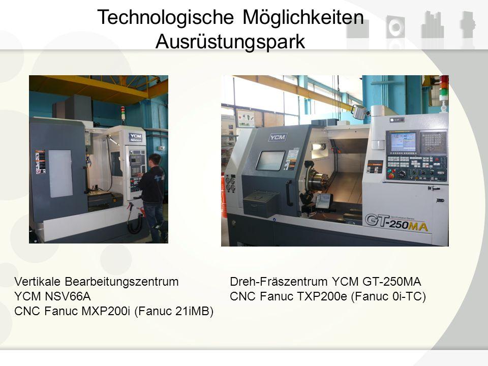 Technologische Möglichkeiten Ausrüstungspark Vertikale Bearbeitungszentrum YCM NSV66A CNC Fanuc MXP200i (Fanuc 21iMB) Dreh-Fräszentrum YCM GT-250MA CN